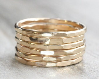 Gold Hammered Stacking Ring // Yellow Gold Stacking Rings // 14K Gold Filled Stackable Rings