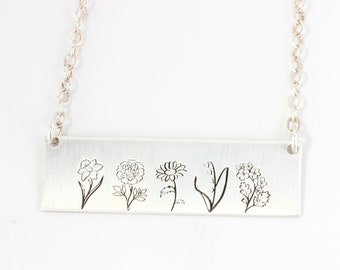 Sterling Silver Birth Flower Necklace // Gift for Her // Gift for Mom // Custom Engraved Bar Necklace // Best Friend Gift