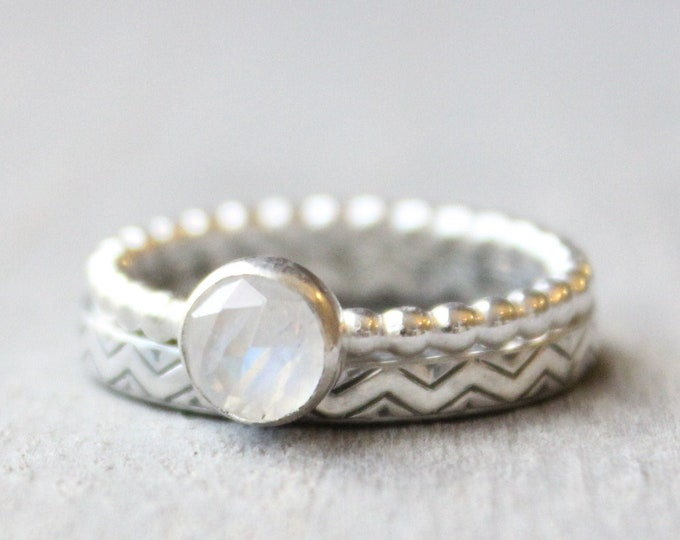 Featured listing image: Moonstone Ring Set // June Birthstone Ring Set // Sterling Silver Rose Cut Moonstone and Chevron Rings // Stacking Rings // 6mm Gemstone