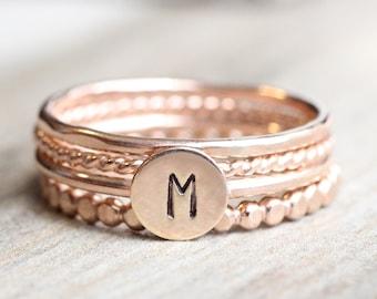 Rose Gold Initial Ring Set // Rose Gold Initial and Bead Ring Set // 14K Rose Gold Filled Stacking Rings