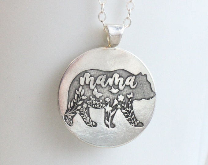 Featured listing image: Mama Bear Necklace // Sterling Silver Mama Bear Necklace // Engraved Mother's Necklace Mother's Day Gift