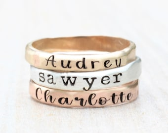 Stacking Name Rings // Sterling Silver, Gold, or Rose Gold Hammered Name Ring -  Personalized Ring - Custom Name Ring - Engraved Ring