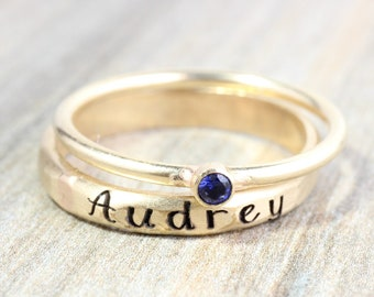 Gold Name Ring Set // Personalized Stacking Name Rings // Custom Engraved Ring / Lab Sapphire Gemstone Ring // September Birthstone Mom Ring