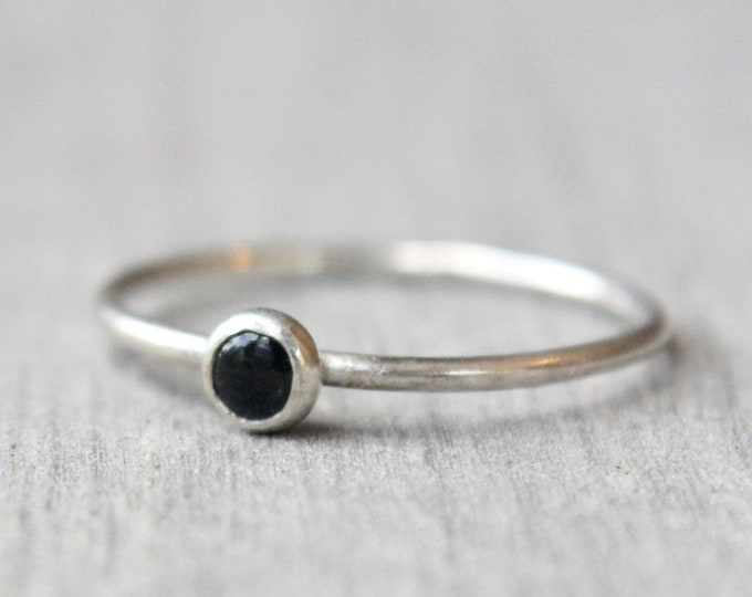 Featured listing image: Sterling Silver Sapphire Ring // Genuine Sapphire Stacking Ring // September Birthstone Ring // Tiny Gemstone Ring // Cobalt Ring