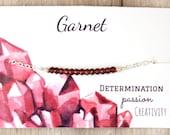 Garnet Bracelet Garnet and .925 Sterling Silver Bracelet January Birthstone Bracelet Sterling Silver Gemstone Bar Bracelet