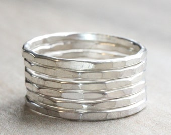 Sterling Silver Hammered Stacking Ring // Solid .925 Sterling Silver Stacking Rings //Silver Stackable Rings