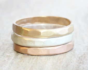 Silver Gold and Rose Gold Stacking Rings // Set of 3 Hammered Sterling Silver Gold and Rose Gold Rings with Satin Finish // Mixed Metals