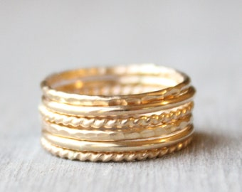 Gold Stacking Ring Set // Set of 6 Yellow Gold Stacking Rings // 14K Gold Filled Stackable Rings // Smooth, Twist, and Hammered Bands