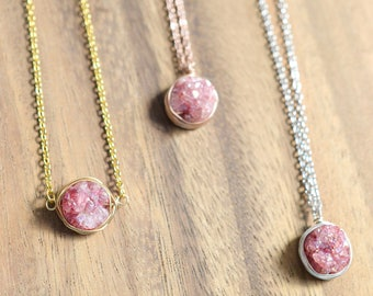 Wire Wrapped Pink Druzy Necklace // 16K Gold Plated, Silver, or Rose Gold Druzy Necklace // Natural Druzy Necklace // Gift for Her