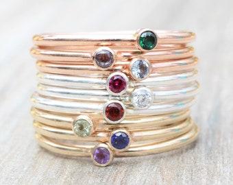 Gemstone Ring // Tiny Birthstone Ring  // 2mm Stone Stacking Ring // Rose Gold, Sterling Silver, Yellow Gold Gemstone Ring
