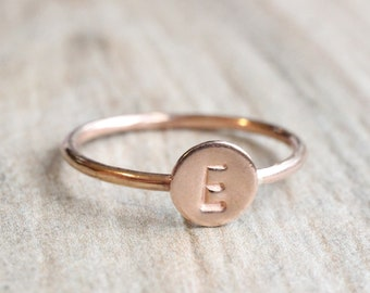 Rose Gold Initial Ring // 14k Rose Gold Filled Letter Ring // Initial Stacking Ring // Personalized Rose Gold Ring // Monogram Ring