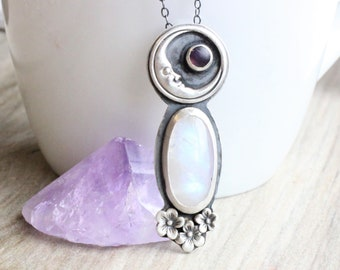 Moonstone Necklace // Sterling Silver Moonstone Flower Necklace with Amethyst Accent // Large Moonstone Pendant // Valentine's Day Gift