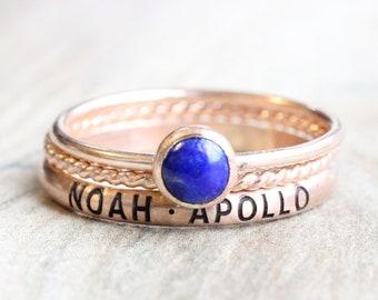 Rose Gold Name Ring Set // Personalized Stacking Name Rings // Custom Engraved Ring Set / Lapis Lazuli Ring // September Birthstone Mom Ring