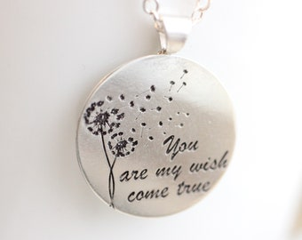 Dandelion Necklace // Personalized Sterling Silver Necklace - Custom Engraved Wish Necklace Valentine's Day Gift - You Are My Wish Come True