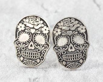 Sterling Silver Skull Stud Earrings // Sugar Skull Studs // Halloween Silver Studs