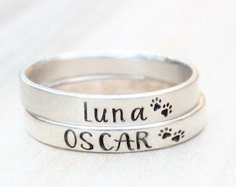 Paw Print Ring // Pet Memorial Ring //  Personalized Ring // Pet Memorial Jewelry // Custom Stacking Ring - Engraved Ring