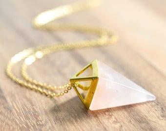Gold Rose Quartz Point Necklace // Gold Rose Quartz Pendulum // Gold Gemstone Point Necklace // Gift for Her // Pink Quartz Crystal Necklace