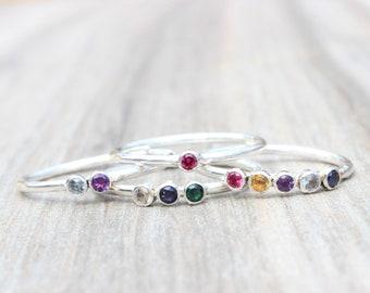 Up to 5 Birthstones Ring // Multi Gemstone Mom Ring // Birthstone Stacking Ring // Sterling Silver Gemstone Ring