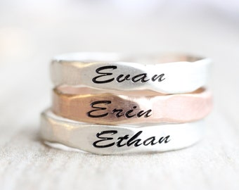Satin Finish Hammered Name Ring // Personalized Custom Ring // Sterling Silver, Gold Filled, or Rose Gold Filled Name Ring // Engraved Ring