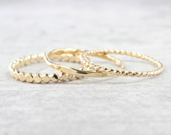 14K Gold Filled Stacking Rings // Set of 3 Simple Stacking Rings // Gold Rope Twist Bead Dot Hammered Ring // Spacer Rings