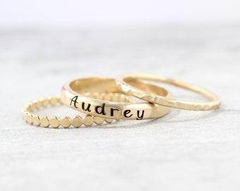 Gold Name Ring Set // Set of 3 Custom Ring Set -  Personalized Ring - Custom Name Ring - Engraved Ring