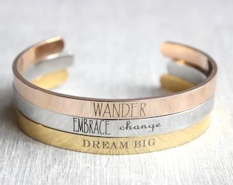 Personalized Bangle Bracelet // Engraved Cuff Bangle // Inspirational Jewelry // Custom, Name, Date, Coordinates, Quote, Bible Verse Bangle