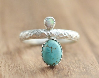 Sterling Silver Turquoise and White Opal Ring // Dual Stone Ring // Sterling Silver Turquoise Ring // Gift for Her // Two Stone Ring