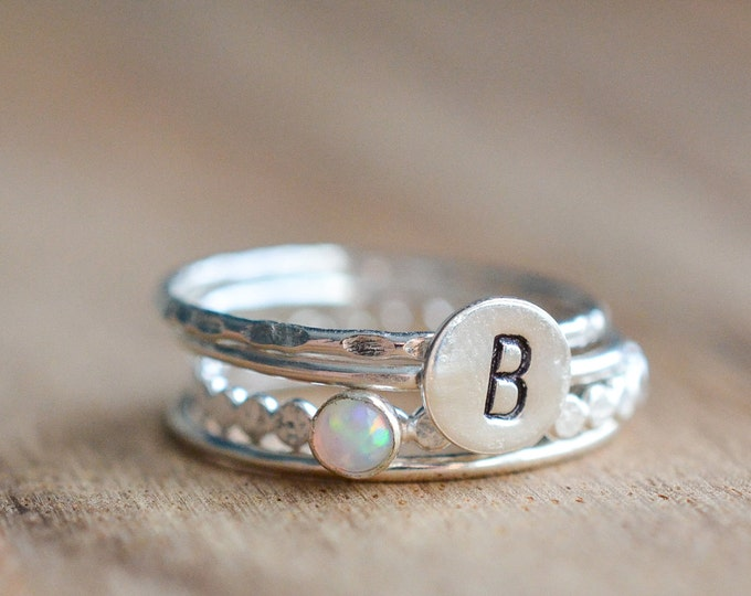 Featured listing image: Silver Opal Ring Set // Sterling Silver October Birthstone Initial Stacking Ring Set // White Opal Ring // Personalized Set of 4 Rings
