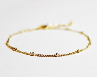 Gold Plated or Gold Filled Stacking Bracelet - BridesMaid Gift - Simple Gold Bracelet - Bead Chain Bracelet - Satellite Chain Bracelet