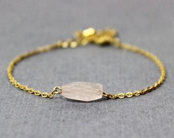 Large Rose Quartz Bead and Gold Bracelet - Minimalist Jewelry - Pink and Gold Bracelet