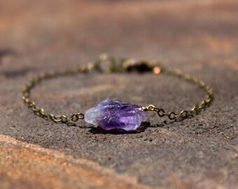 Raw Amethyst and Oxidize Brass Bracelet - February Birthstone Bracelet - Amethyst Bracelet