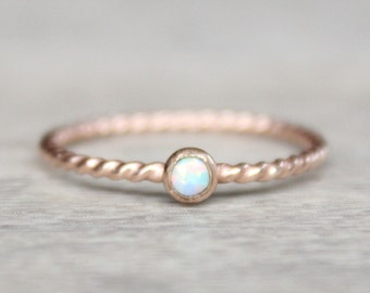 Rose Gold Opal Ring // 14k Rose Gold Filled Opal Ring // October Birthstone Ring // Rose Gold Twist Ring // Simulated Opal Stacking Ring