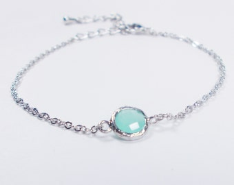 Mini Pop of Color Silver and Mint Glass Connector Stacking Bracelet - BridesMaid Gift - Gemstone Bracelet - Birthstone