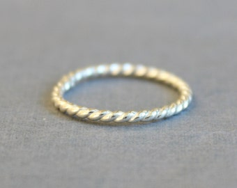 Sterling Silver Twist Ring - Rope Ring - Simple Sterling Silver Stacking Ring
