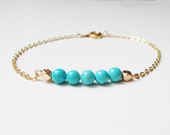 Turquoise and Gold Bracelet- Minimalist Jewelry - 16K gold plated chain