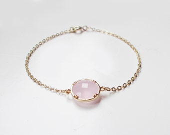 Pink Ice 16K Gold Plated Stacking Bracelet - BridesMaid Gift - Gemstone Bracelet - Pink stone Bracelet