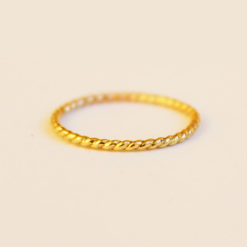 Gold Rope Ring 14K Gold Filled Twist Ring Gold Twist Stacking Ring