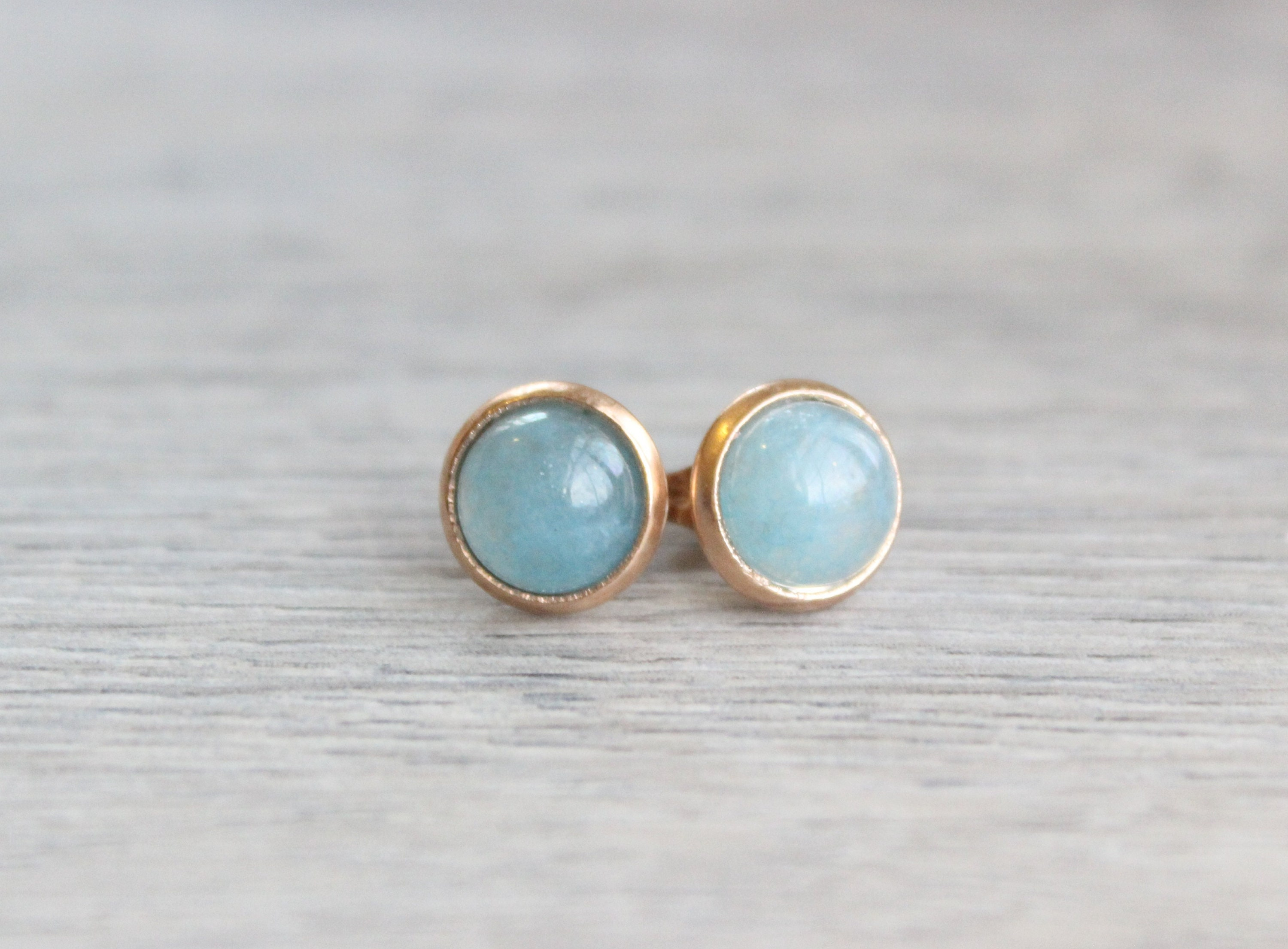 871883a31 Aquamarine Quartz Earrings // Rose Gold Aquamarine Stud Earrings ...