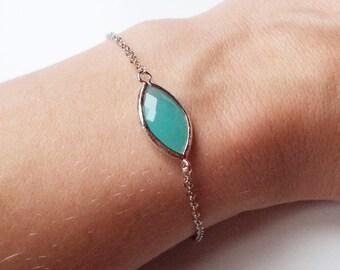 Turquoise Pop Silver Stacking Bracelet- BridesMaid Gift - Gemstone Bracelet- Mint Bracelet