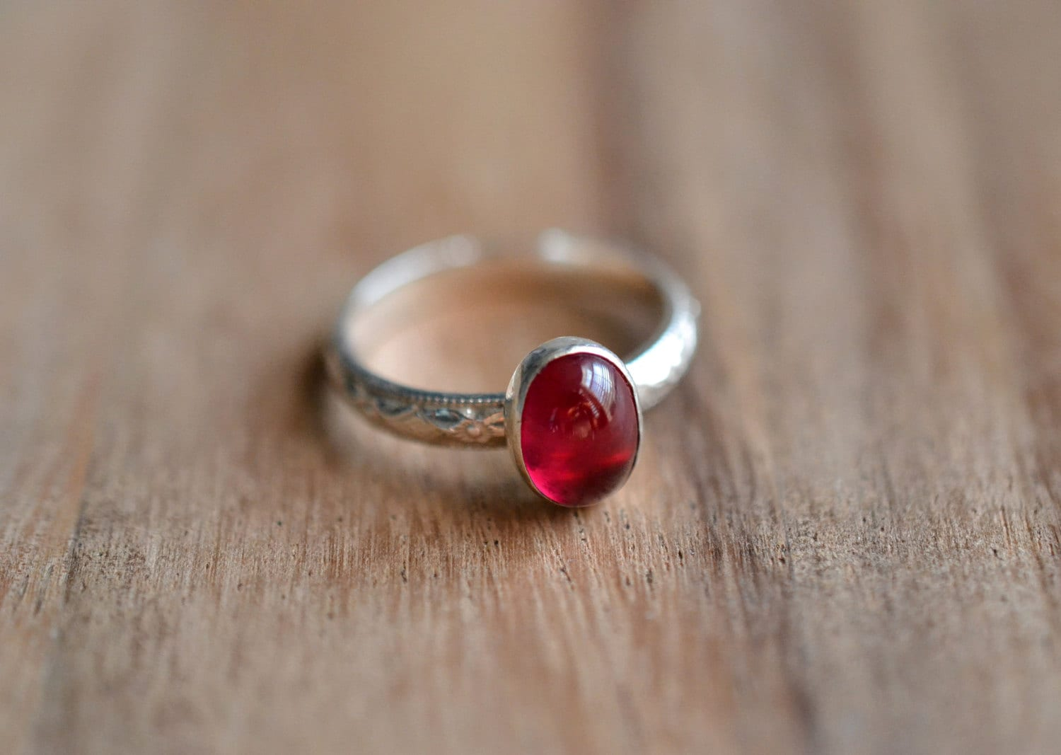Silver Ruby Ring // Sterling Silver Birthstone Stacking Ring