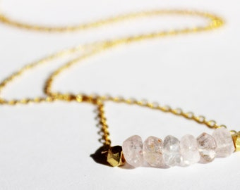 Rose Quartz and Gold Necklace - Minimalist Jewelry - Pink and Gold Necklace