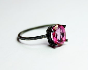 Blush Topaz and Oxidized Sterling Silver Ring - Blush Topaz Ring - Pink Topaz and Silver Ring - Black and Pink Ring