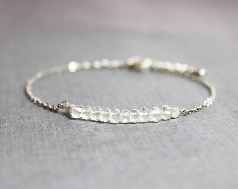 00eb7c96f11 Silver Quartz Bracelet // Sterling Silver Crystal Quartz Bracelet // April  ...