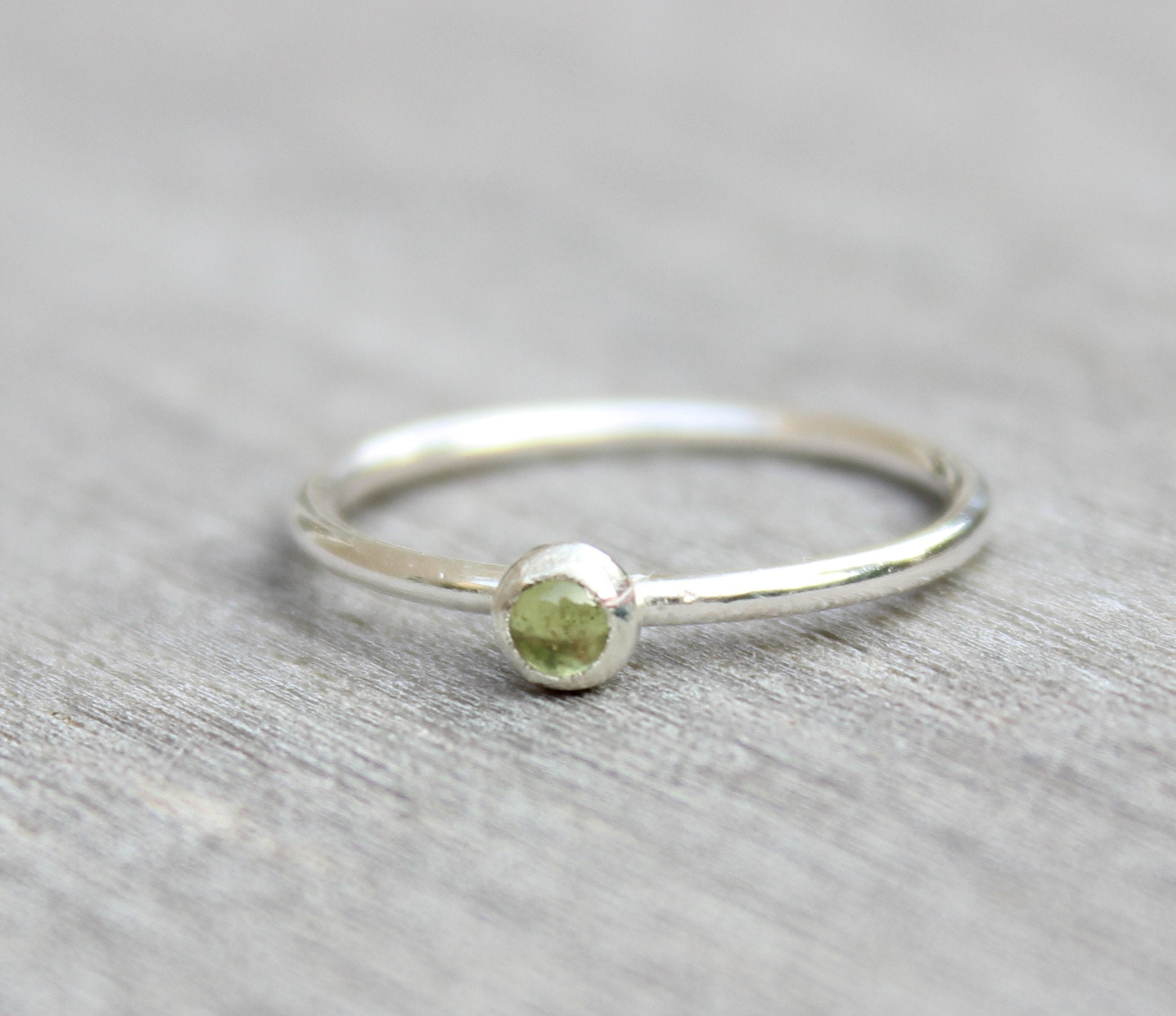 24cb5e43f1921 Sterling Silver Peridot Ring // Silver Peridot Stacking Ring // August ...