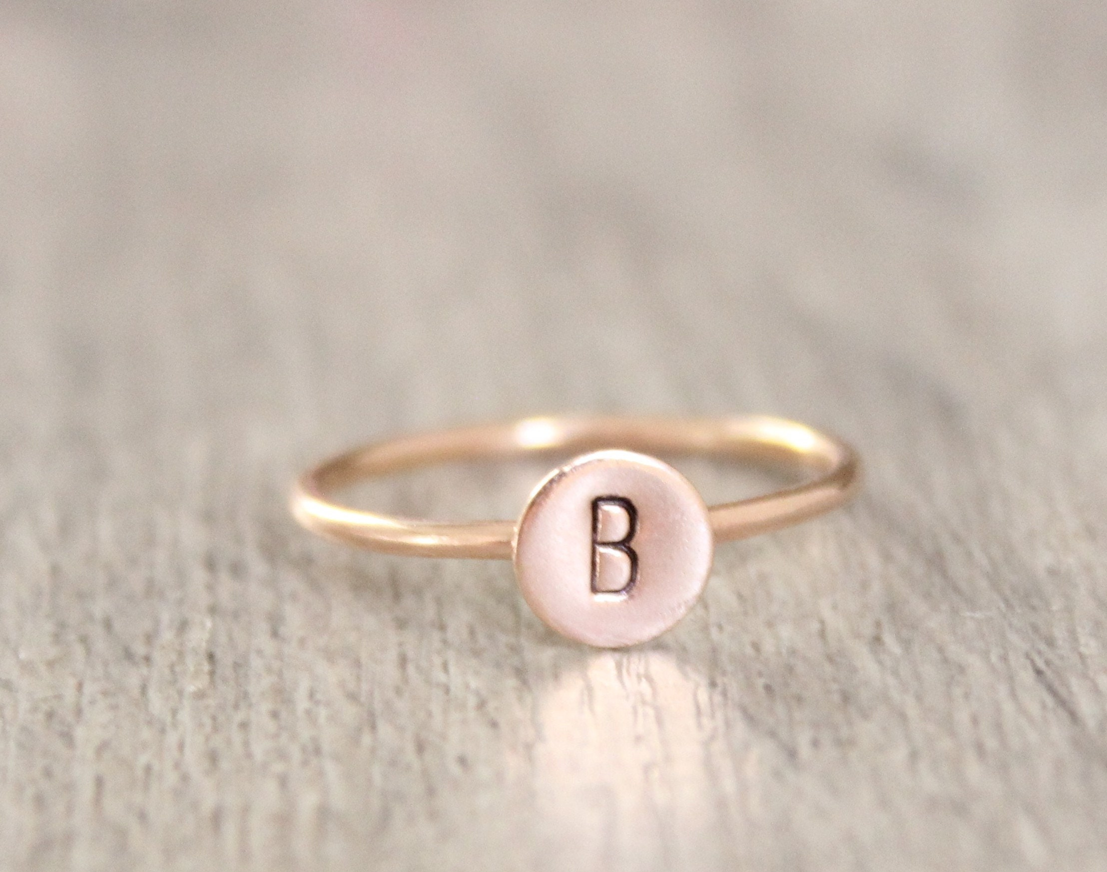 bac9f9fcfc Rose Gold Initial Ring // 14k Rose Gold Filled Letter Ring // Initial ...