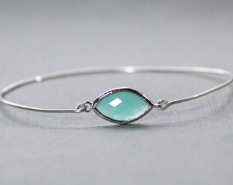 Turquoise Pop Sterling Silver Stacking Bangle Bracelet- BridesMaid Gift - Gemstone Bracelet- Mint Bracelet