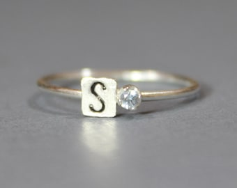 Sterling Silver March Birthstone and Initial Stacking Ring - 2mm Aquamarine Ring - Personalized Silver Ring