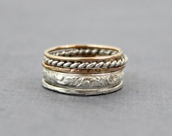 Set of 5 Thick Stacking Rings - Sterling Silver, and 14K Rose Gold Filled - Mixed Metals