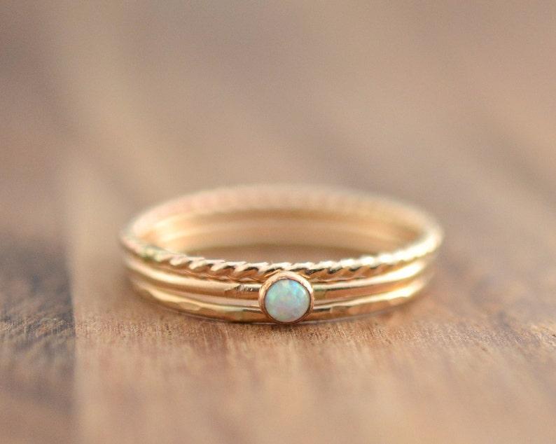 14K Gold Filled White Opal Stacking Ring Set // Gold Opal Ring image 0