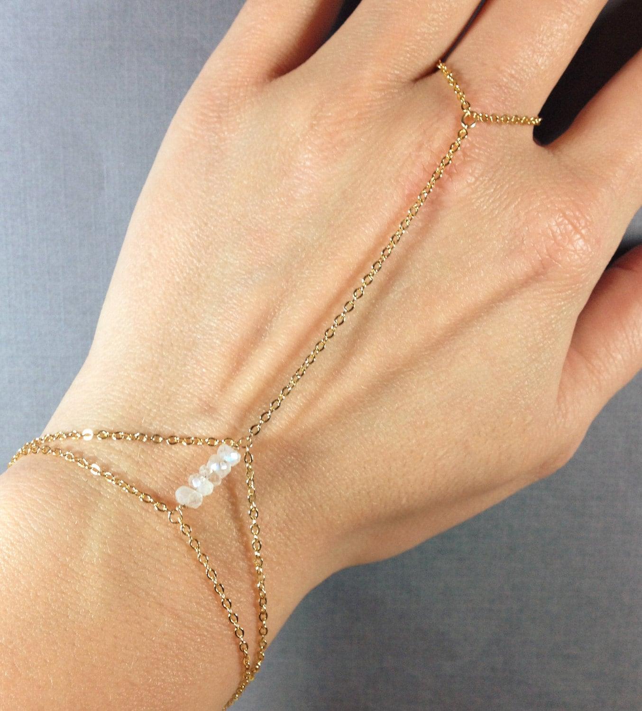 BIRTHSTONE Finger-bracelet OCTOBER Rose Opal Custom Slave-bracelet 14K Gold-fill
